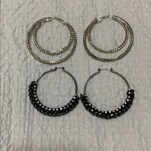 2 pairs of hoop earrings Bebe brand